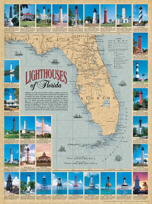 Florida Lighthouses Map.Lighthouses Of Florida Historic Print Map Company